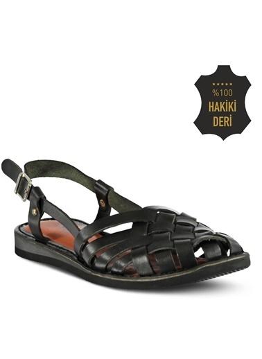 Marjin %100 Deri Sandalet Siyah